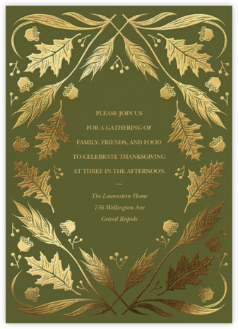 Foil Foliage - Paperless Post - Thanksgiving invitations