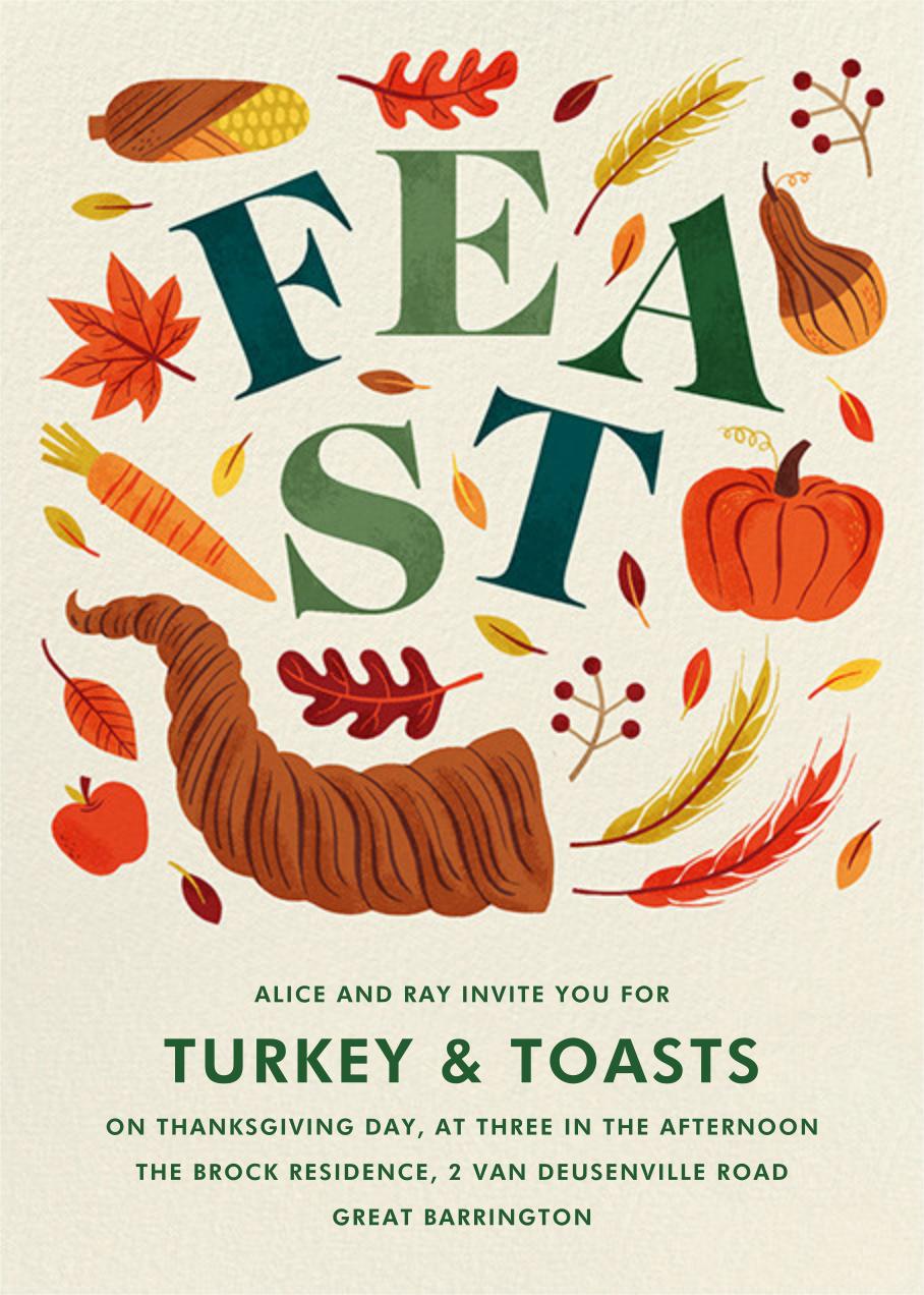Cornucopia Feast - Paperless Post - Thanksgiving invitations