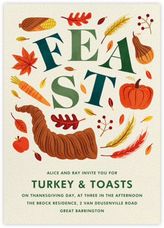 Cornucopia Feast - Paperless Post - Thanksgiving invitations
