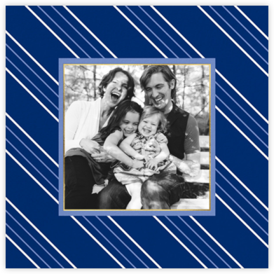 Peppermint Stripe Photo - Indigo - kate spade new york - Hanukkah photo cards