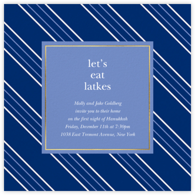 Peppermint Stripe - Indigo - kate spade new york - Hanukkah Invitations