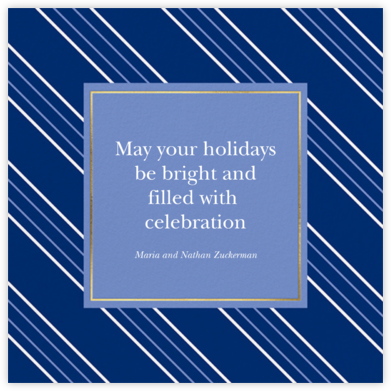 Peppermint Stripe - Indigo - kate spade new york - Hanukkah Cards