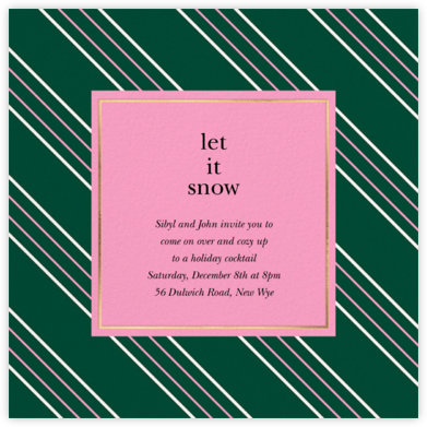 Peppermint Stripe - Forest Green - kate spade new york - Holiday invitations