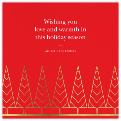 Deco Trees (Square) - Red - kate spade new york - Holiday Cards