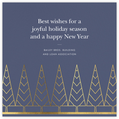 Deco Trees (Square) - Cadet - kate spade new york - Business holiday cards