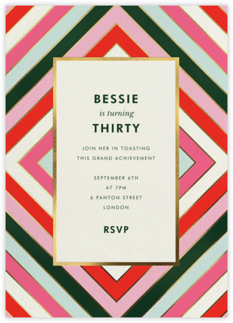 Mod Stripes - kate spade new york - Adult Birthday Invitations