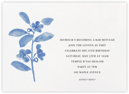Watercolor Bloom - Antwerp - Linda and Harriett - Bat and Bar Mitzvah Invitations