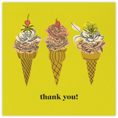 Flower Cones (Square) (Dylan Mierzwinski) - Red Cap Cards - Graduation Thank You Cards