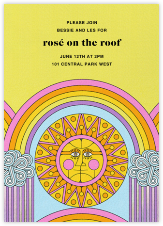 Rainbow Sun (Tall) (Nolan Pelletier) - Red Cap Cards - Summer Party Invitations