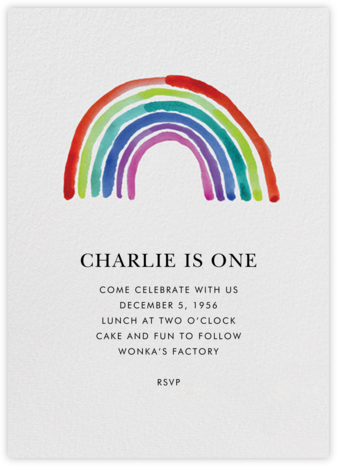 Watercolor Rainbow - Linda and Harriett - First Birthday Invitations