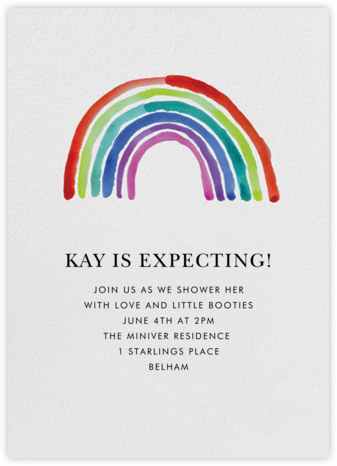 Watercolor Rainbow  - Linda and Harriett - Baby shower invitations