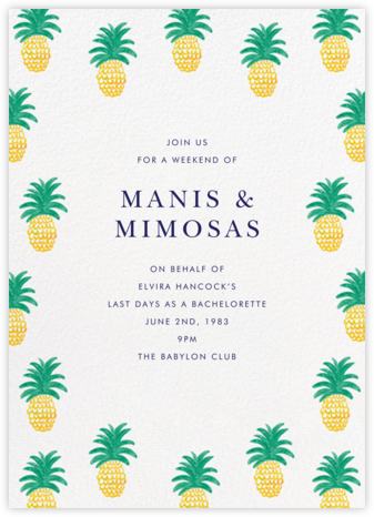 Pineapple Party - Linda and Harriett - Bachelorette party invitations