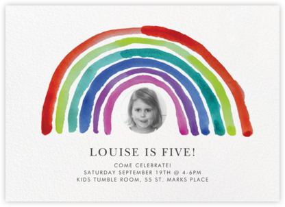 Watercolor Rainbow Photo - Linda and Harriett - Kids' birthday invitations