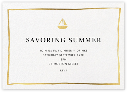 Golden Sails - Linda and Harriett - Invitations for Entertaining