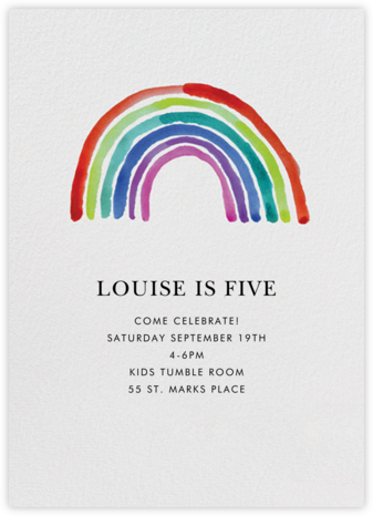 Watercolor Rainbow - Linda and Harriett - Online Kids' Birthday Invitations