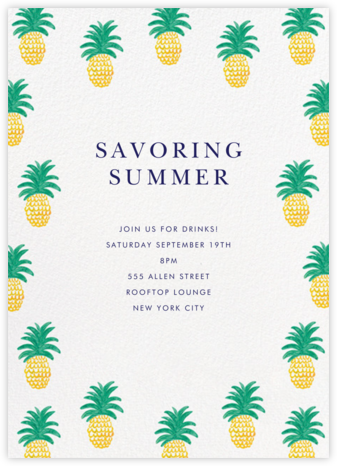 Pineapple Party - Linda and Harriett - Summer entertaining invitations
