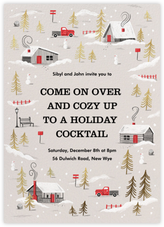 Frosted Village - Paperless Post - Holiday party invitations