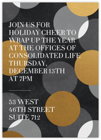 Jumbo Confetti - Gold/Black - Paperless Post - Winter entertaining invitations