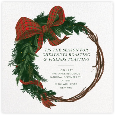Plaid Wreath - Paperless Post - Holiday party invitations