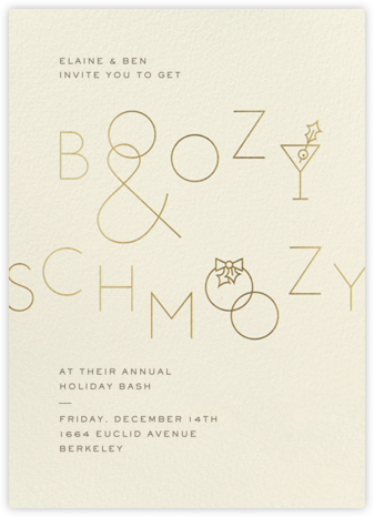Boozy and Schmoozy - Cream - Paperless Post - Holiday invitations