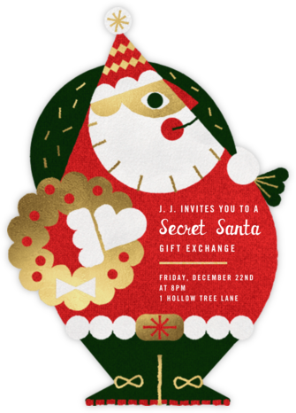 Gold Santa - Paperless Post - Christmas Party Invitations