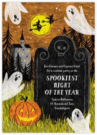Spooky Sketch - Paperless Post - Halloween invitations