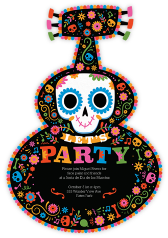 Magic Guitar - Black - Paperless Post - Día de los Muertos invitations
