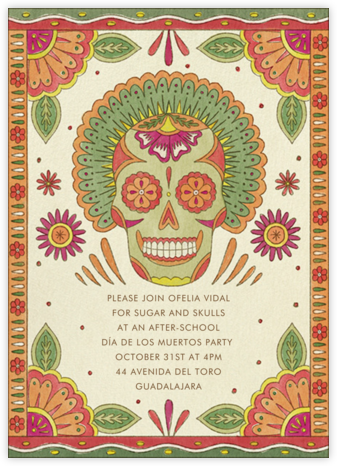Painted Skull - Paperless Post - Halloween invitations