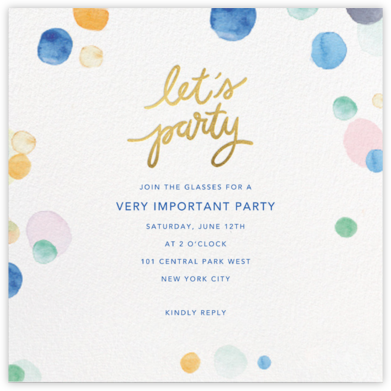 Watercolor Confetti - Party - Sugar Paper - General Entertaining Invitations