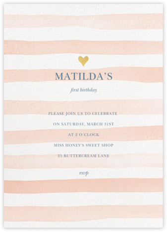 Light Stripes - Sherbet - Sugar Paper - First Birthday Invitations