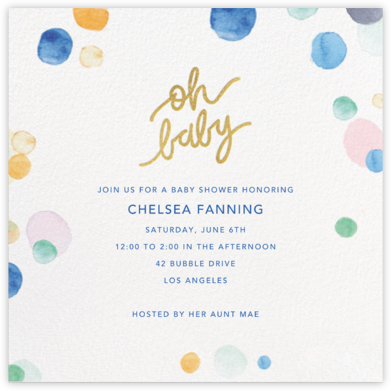 Watercolor Confetti - Baby - Sugar Paper - Online Party Invitations
