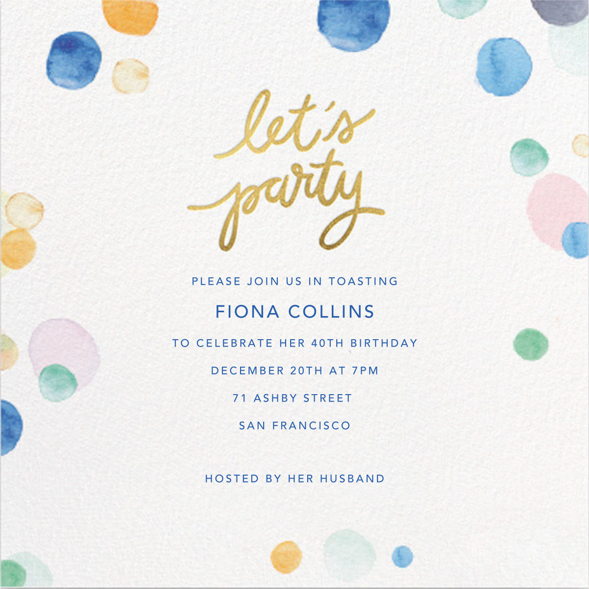Watercolor Confetti - Party - Sugar Paper - Adult birthday invitations