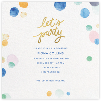 Watercolor Confetti - Party - Sugar Paper - Birthday invitations
