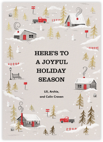 Frosted Village - Paperless Post - Holiday Cards