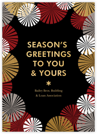 Party Fans - Black - Paperless Post - Company holiday cards