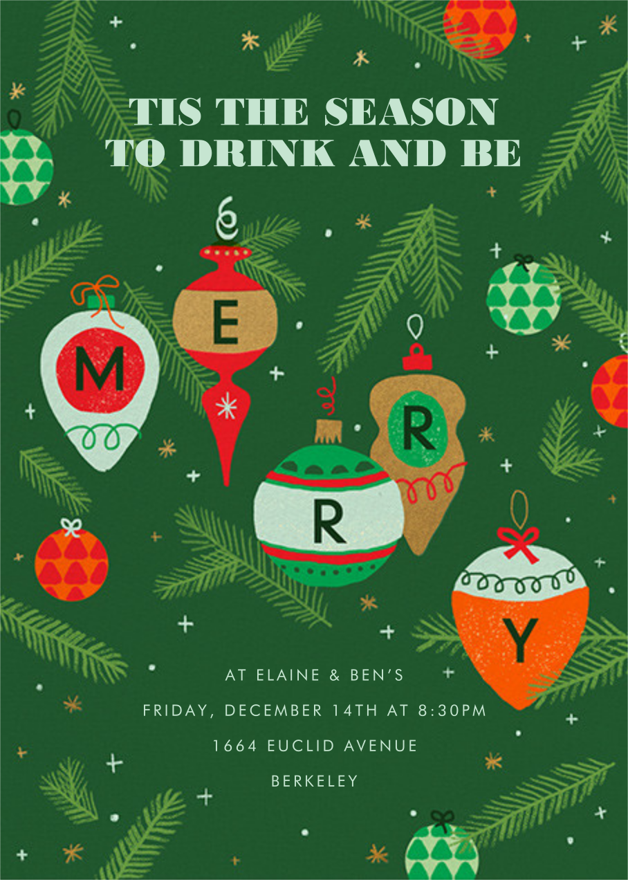 Merry Ornaments - Paperless Post - Holiday party invitations