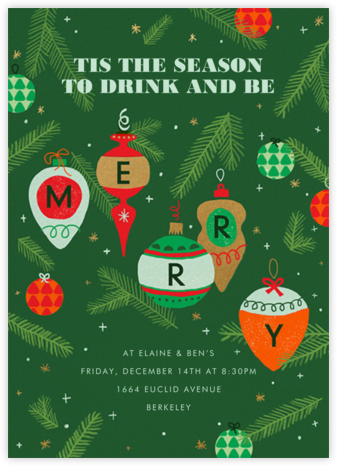 Merry Ornaments - Paperless Post - Holiday invitations
