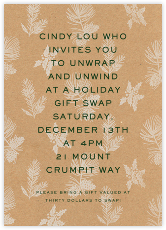 Winter Wrap - Kraft - Paperless Post - Holiday invitations