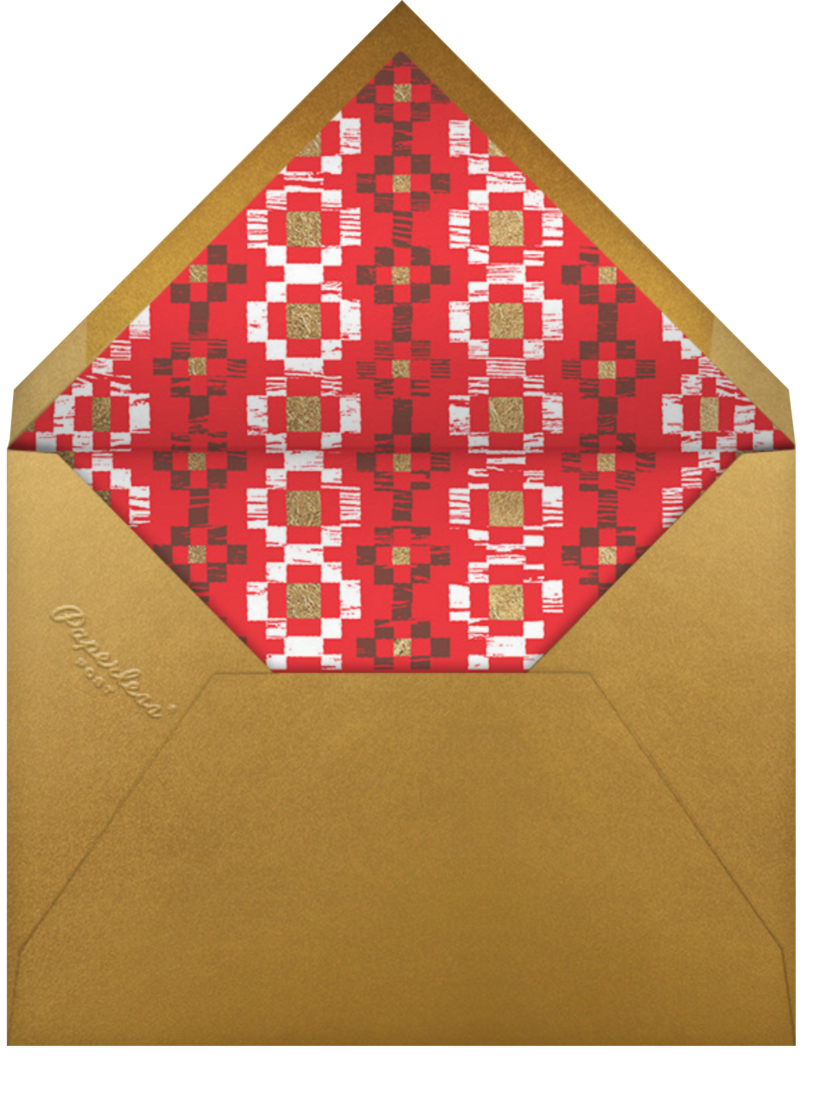 Warm Woodblock - Paperless Post - Holiday party - envelope back