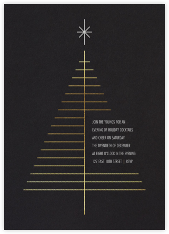 Tree Topper - Black - Paperless Post - Holiday Invitations