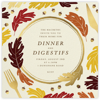Oaky Doke - Paperless Post - Fall Entertaining Invitations