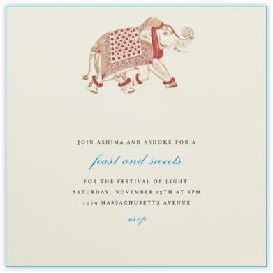 Engraved Elephant - Bernard Maisner - Diwali Invitations