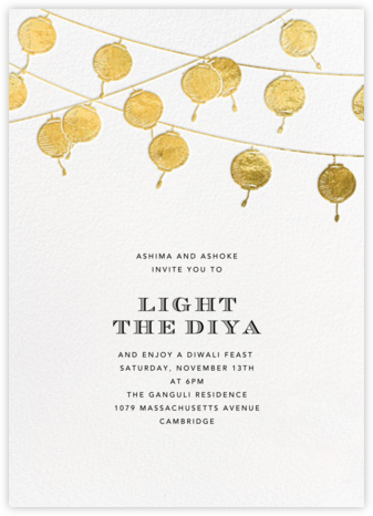 Lanterns - Gold - Paperless Post - Diwali invitations