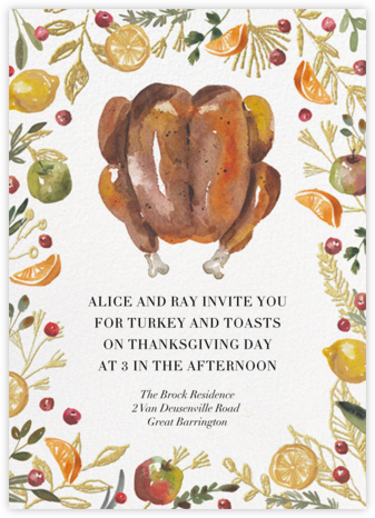 Watercolor Turkey - Paperless Post - Thanksgiving invitations