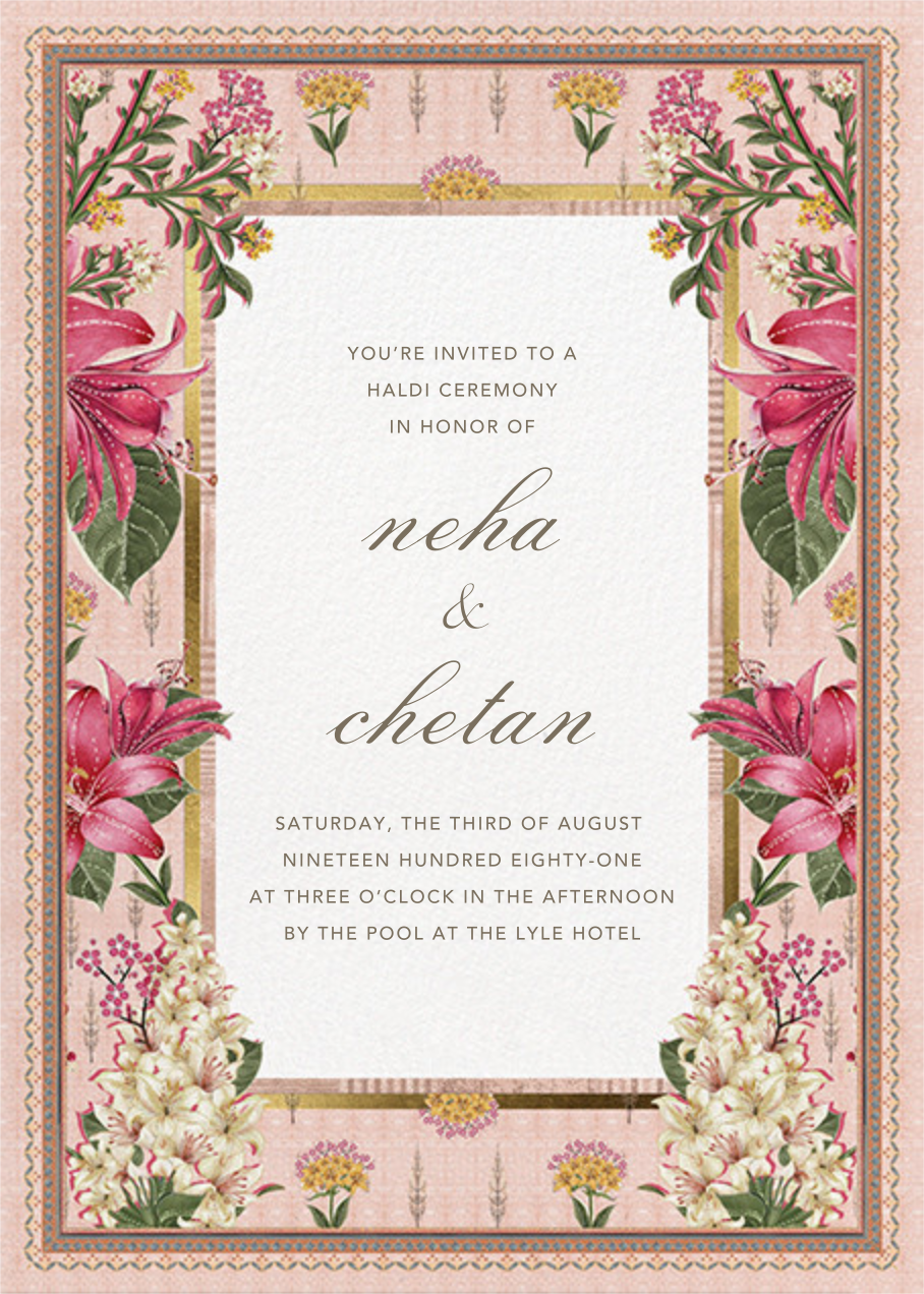 Keyuri (Haldi) - Anita Dongre - Wedding invitations