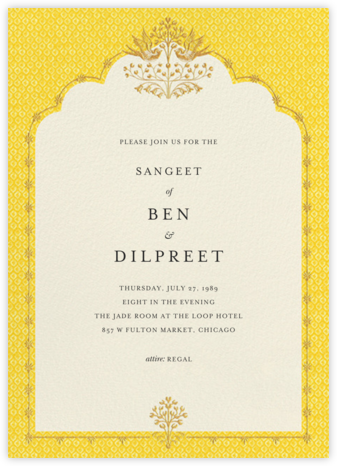 Aadya (Sangeet) - Yellow - Anita Dongre - Wedding Invitations