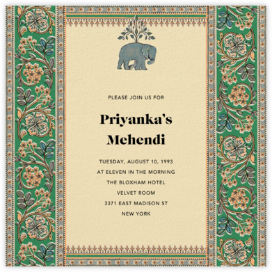 Naima (Mehendi) - Green - Anita Dongre - Wedding invitations