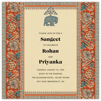 Naima (Sangeet) - Longhorn - Anita Dongre - Indian Wedding Cards