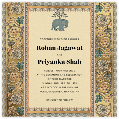 Naima (Invitation) - Gold - Anita Dongre - Wedding Invitations