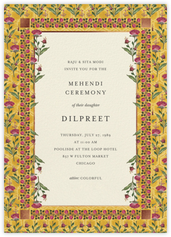 Nirvi (Mehendi) - Anita Dongre - Wedding Invitations